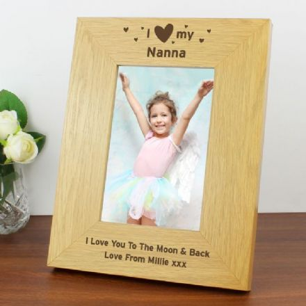 Personalised I Heart My 6x4 Oak Finish Photo Frame